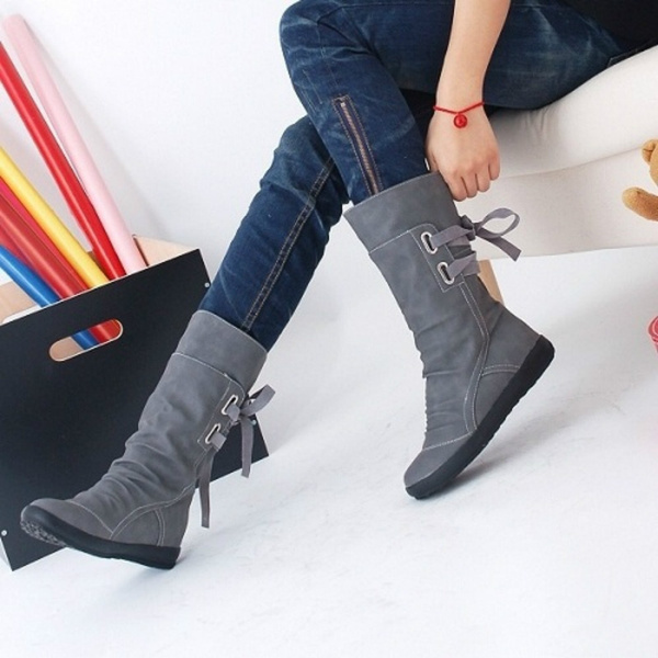 Autumn and Winter Leather Boots Flat