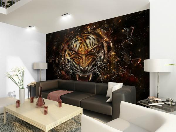 bedroom, Tiger, Sofas, diywallpaper