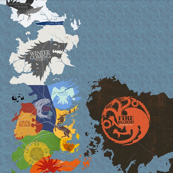 Game Of Thrones Houses Map Westeros And Free Cities Poster Home Deco 24x24 Inch Print On Silk B02 Wish