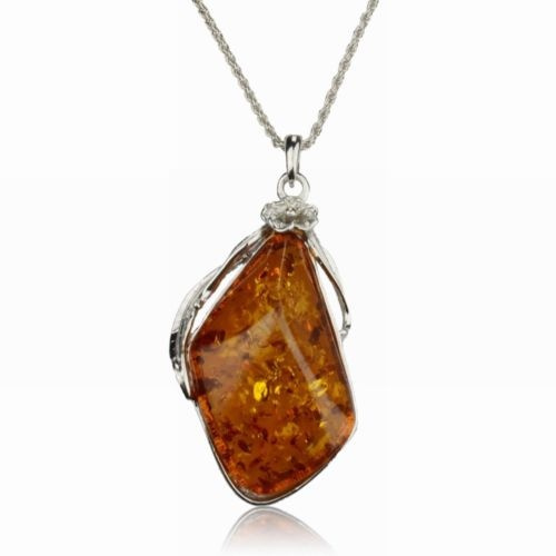 amber, Chain Necklace, Flowers, ambernecklace
