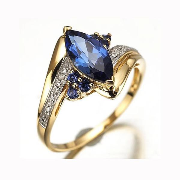 yellow gold, Blues, Fashion, Women Ring