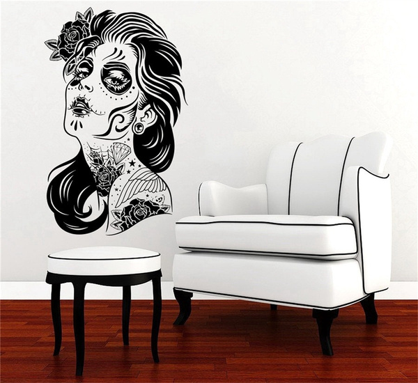 Happy Halloween Skull Girl Face Tattoo Hair Makeup Salon Studio Zombie Fashion Living Room Vinyl Carving Wall Decal Sticker For Halloween Party Home Window Decoration Wish