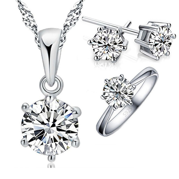 Cubic Zirconia, Sterling, Jewelry, sterling silver