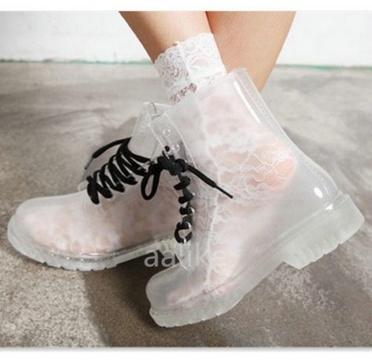 Clear Rubber Rain Boots Lace