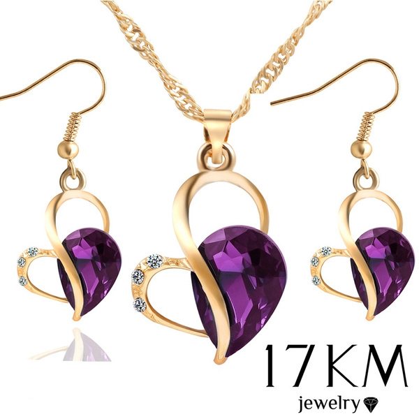 purple and green crystal silver necklace earring set Purple green necklace earring set