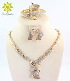 Fashion, alloyjewelryset, gold, crystaljewelryset