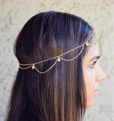 pearlhairband, Turquoise, hairchain, hair jewelry