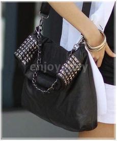 retrostudleathermotorcyclebag, Chain, crossbodyrivetbag, leather