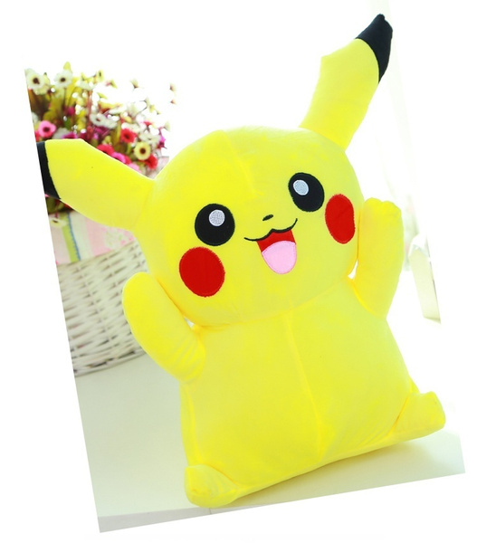 Pikachu Stuffed Animal Big, Pokemon Pikachu Plush Giant Pikachu Toys For Girls Cute Gifts For Kids Japanese Anime Doll Cotton Stuffed Toy Big Size 35cm Color Yellow Wish