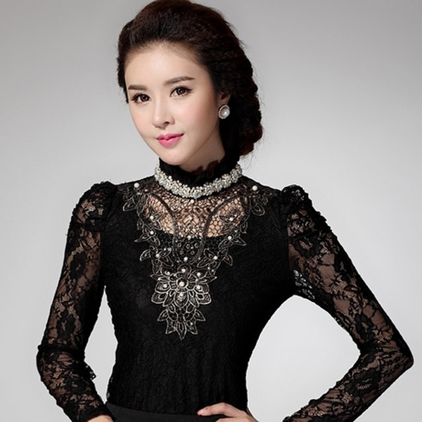 hollowouttshirt, slim fit shirt, Fashion, Lace