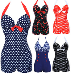 push up swimwear, Plus Size, Vintage, onepiece