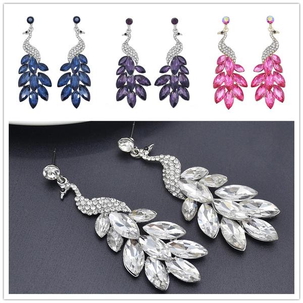 peacock, Dangle Earring, Beauty, Crystal
