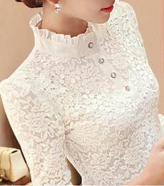 women Chiffon Blouse, Lace, chiffon, Long Sleeve