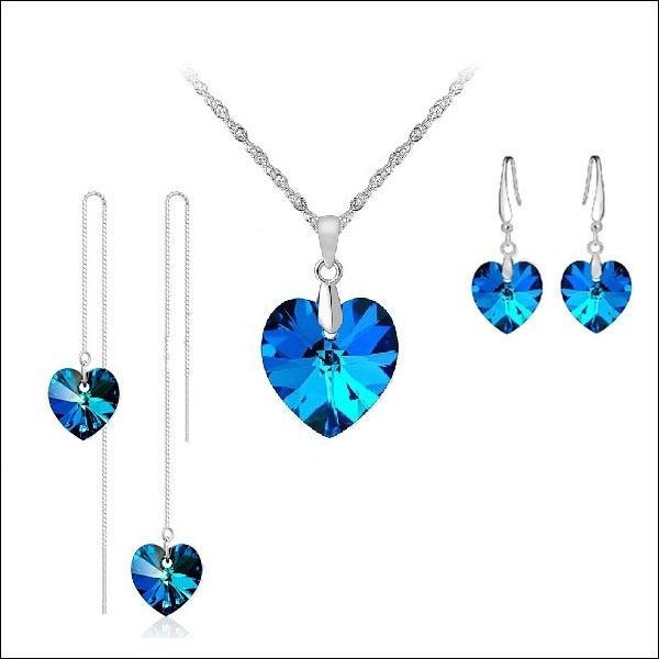 Blues, Heart, Set, jewely