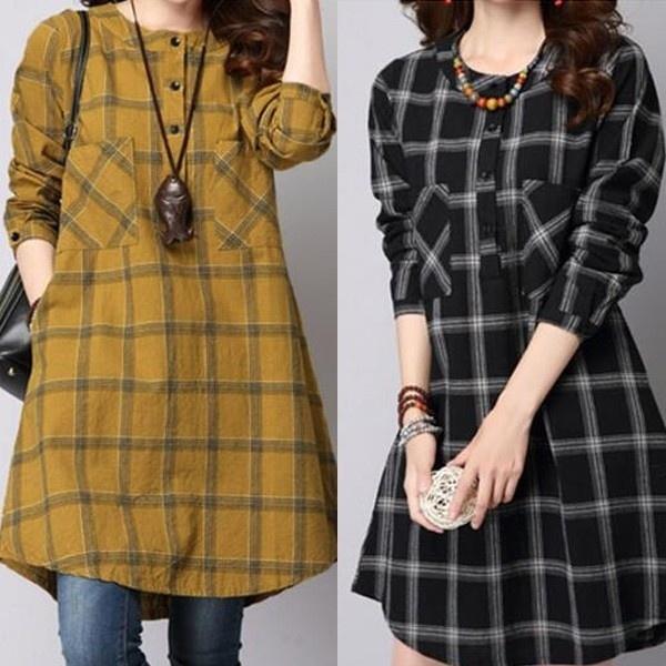 blouse, Mini, plaid, Tops & Blouses