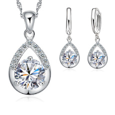 Sterling, White Gold, Set, Jewelry