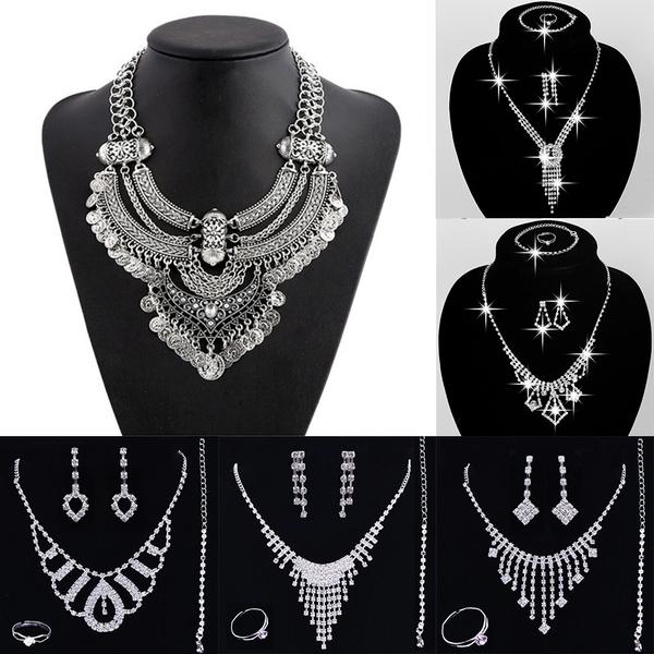 Antique, Jewelry, metalbibstatementnecklace, tasselcollarnecklace