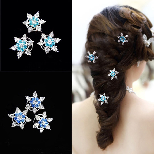 bridesmaidhairclip, Princess, Rhinestone, Snowflakes