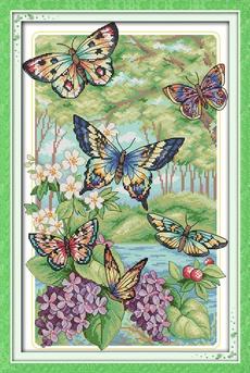 butterfliesflyintheforest, 11ctprintedembroidery, Home Decor, giftcrafthomedecor