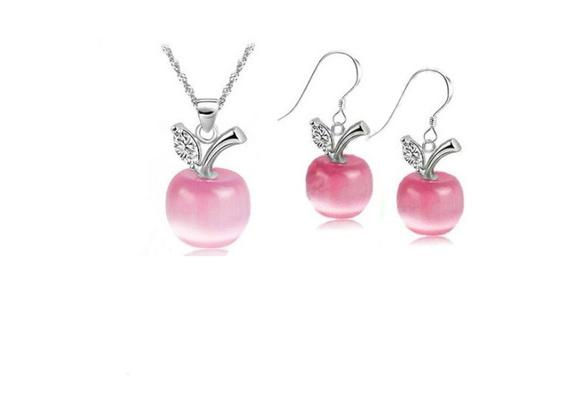 2012 Hot Pink 925 Sterling Silver Apple Cat/'s Eye Stone CZ Pendant Wedding Birth