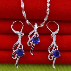 Blues, Sterling, Hoop Earring, Sapphire
