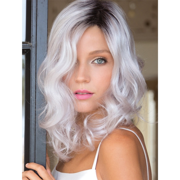 Dark Roots Women Short Wavy Curly Hair Cheap Ombre White Cosplay Lolita Wig Wish