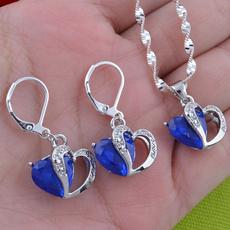 Sterling, Heart, Hoop Earring, Sapphire
