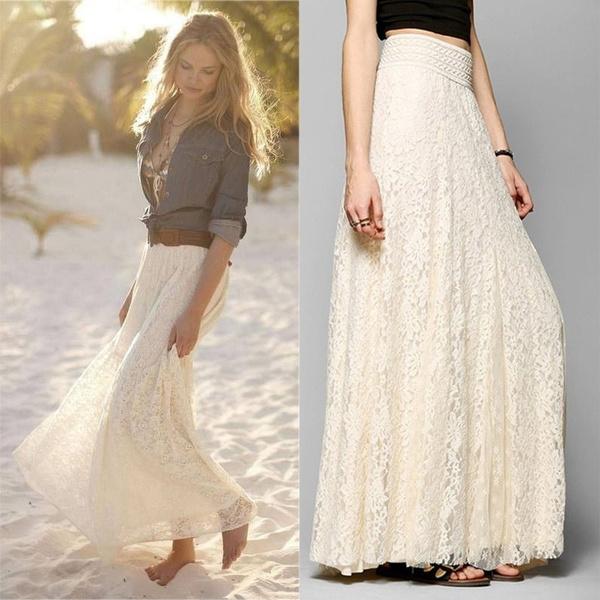 Summer, hitchedskirt, Lace Dress, womenhighwaistskirt