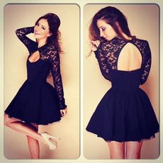 hollowdres, Lace, sexy cocktail dresses, Long Sleeve