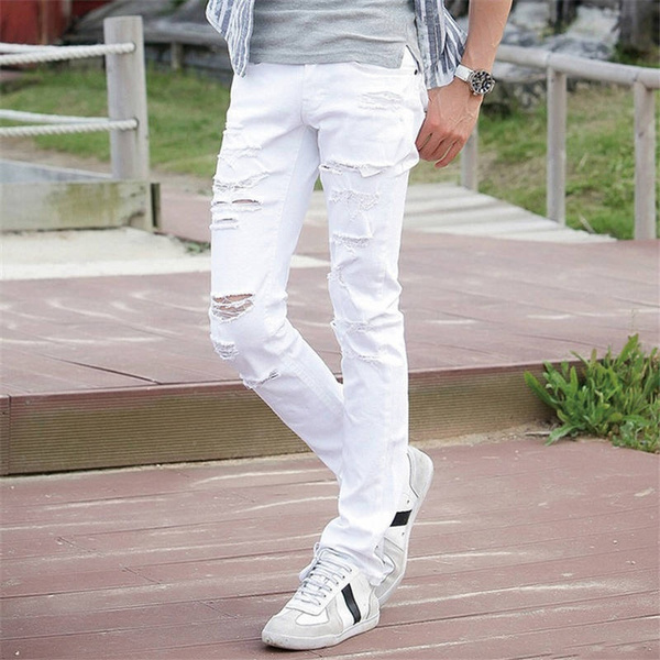 I listen to music Changeable stationery  New White Ripped Jeans Men With Holes Super Skinny Famous Designer Brand  Slim Fit Destroyed Torn Jean Pants For Male | Wish