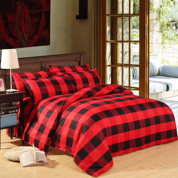Red Black Plaid Duvet Cover 1pcs, Red And Black Plaid Queen Bedding