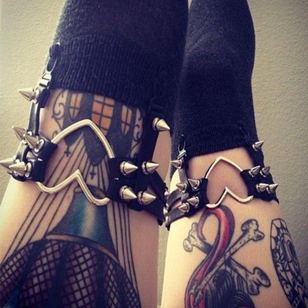 Heart, Goth, Fashion, Garters