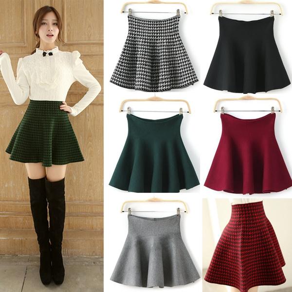 black skirt, plaid, Elastic, redplaidskirt