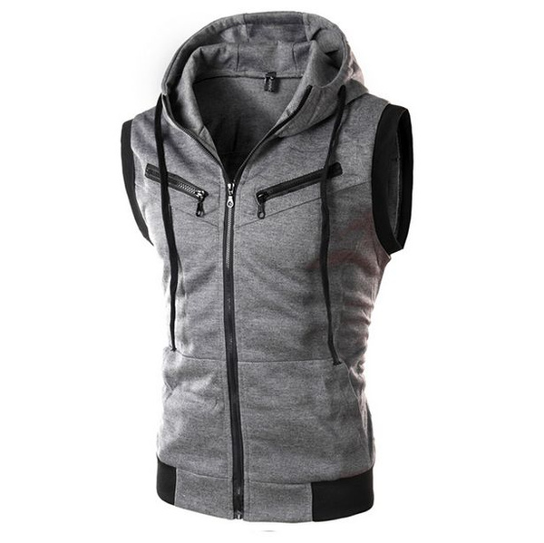 Vest, hooded, Men's vest, Sleeveless hoodie
