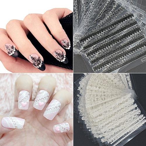 nail stickers, nail tips, Lace, Beauty