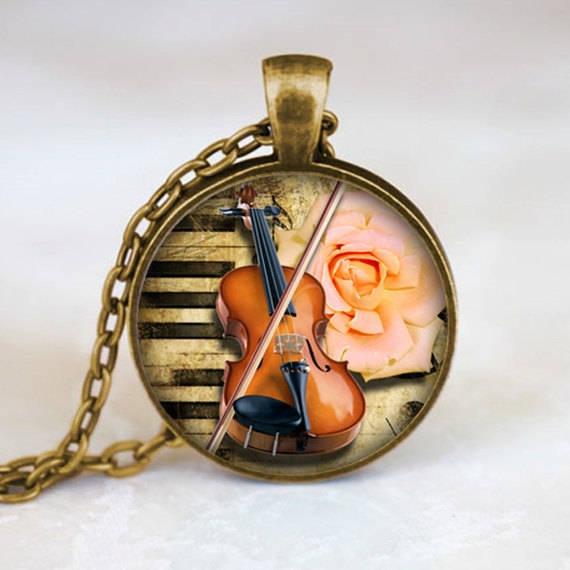 necklaceviolin, violinjewelry, musicjewelry, Jewelry & Watches