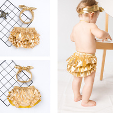Fashion, ruffle, gold, pants