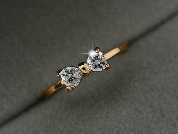 goldplated, crystal ring, Jewelry, gold