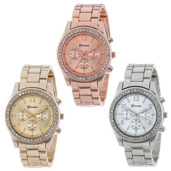 quartz, Geneva, Waterproof, Bracelet Watch