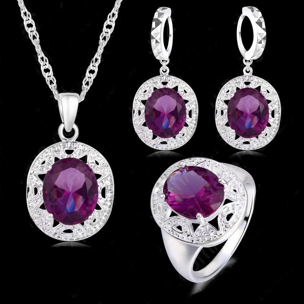 Sterling, Set, Jewelry, Crystal