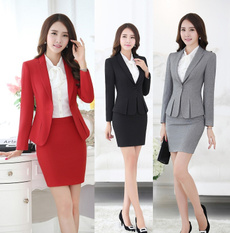 Plus Size, Office, Spring, womenskirtsuit