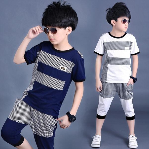 Summer, short-sleeved shirt, childrenstwopiecesuit, boystwopieceset