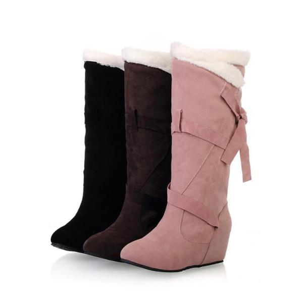Oxidado Cubo Astronave  Bowtie Hasta La Rodilla Botas Altas Marca Con Cuña Oculta Blanco De Piel  Botas De Invierno Botas De Nieve Caliente Para Mujer Zapatos Mujer Botas |  Wish