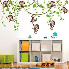 monkeywallsticker, Wall Art, kidsroomsticker, Stickers