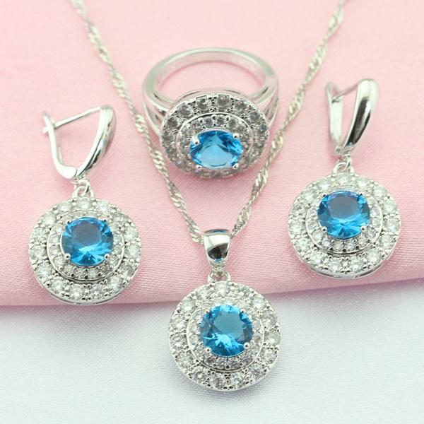 Blues, light blue, aaazircon, 925silvernecklacependant
