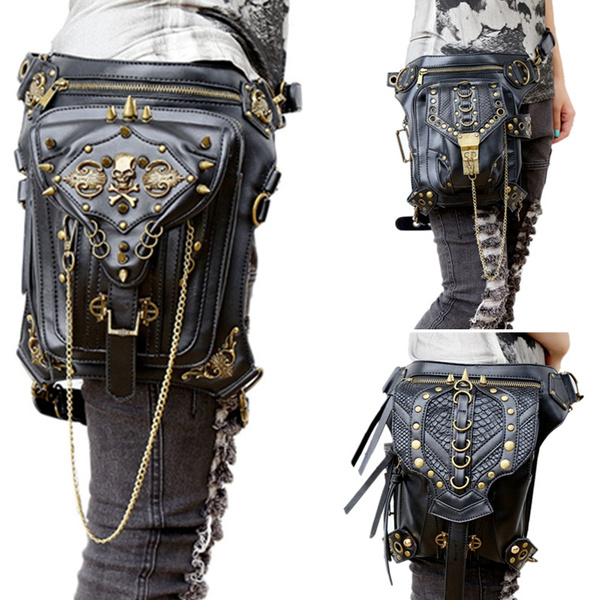 Steampunk Waist Leg Bag Leather Hip Holster Purse Retro Style Pouch Punk Bag