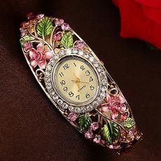 Crystal Bracelet, quartz, gold, Watch