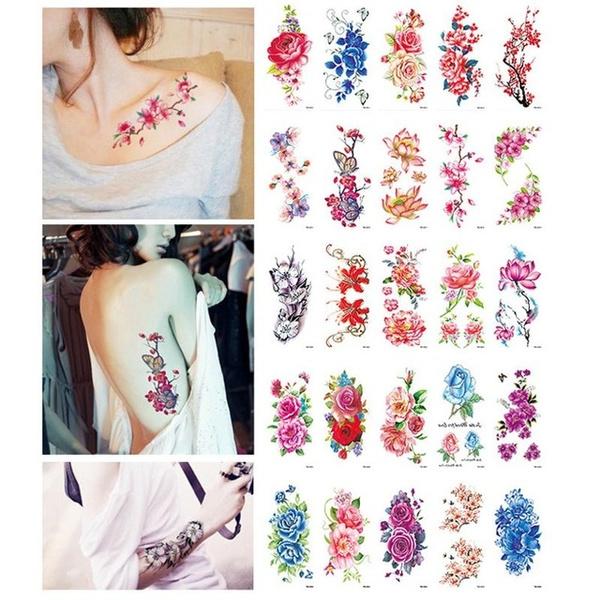 tattoodecal, Flowers, temporarytattoosticker, waterprooftattoo