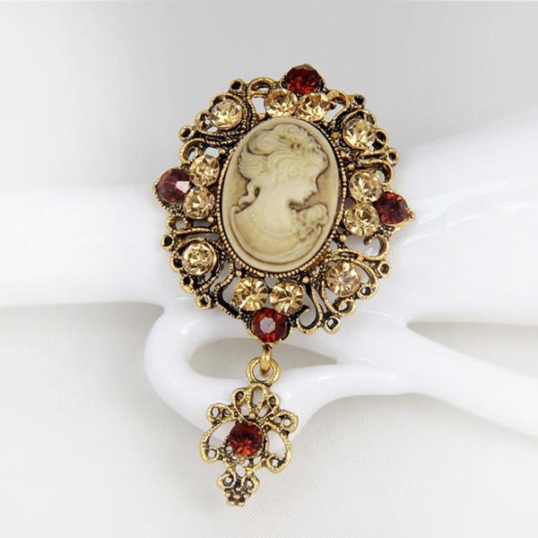 Flowers, Cameo, Jewelry, Brooch Pin