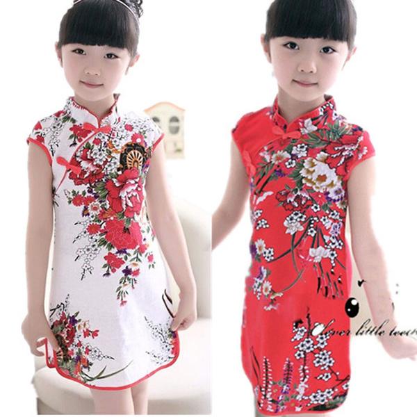 Girl Dress Red Plum Flower Chinese Traditional Cheongsam Children Qipao